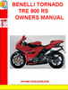 196848894 BENELLI TORNADO TRE 900 RS OWNERS MANUAL